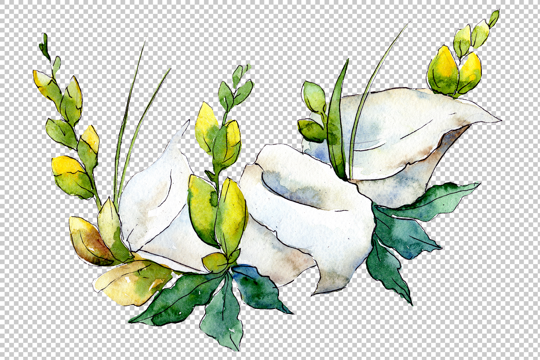 Bouquet flower composition PNG watercolor set example image 4