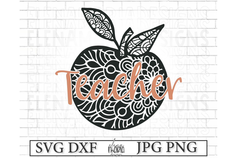 Teacher Mandala Svg | Live Love Learn Svg School Zentangle example image 2
