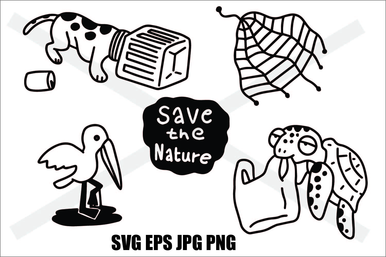 Save The Nature- Thin line and Thick Line - SVG/EPS/JPG/PNG example image 1
