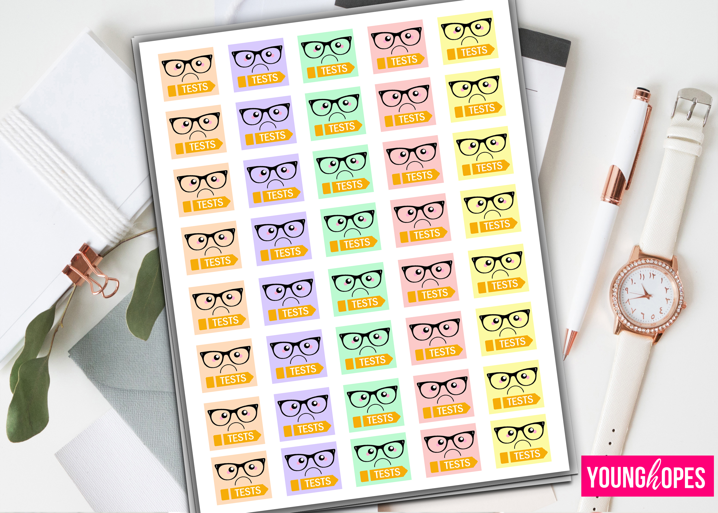 Kawaii Test Planner Stickers example image 1