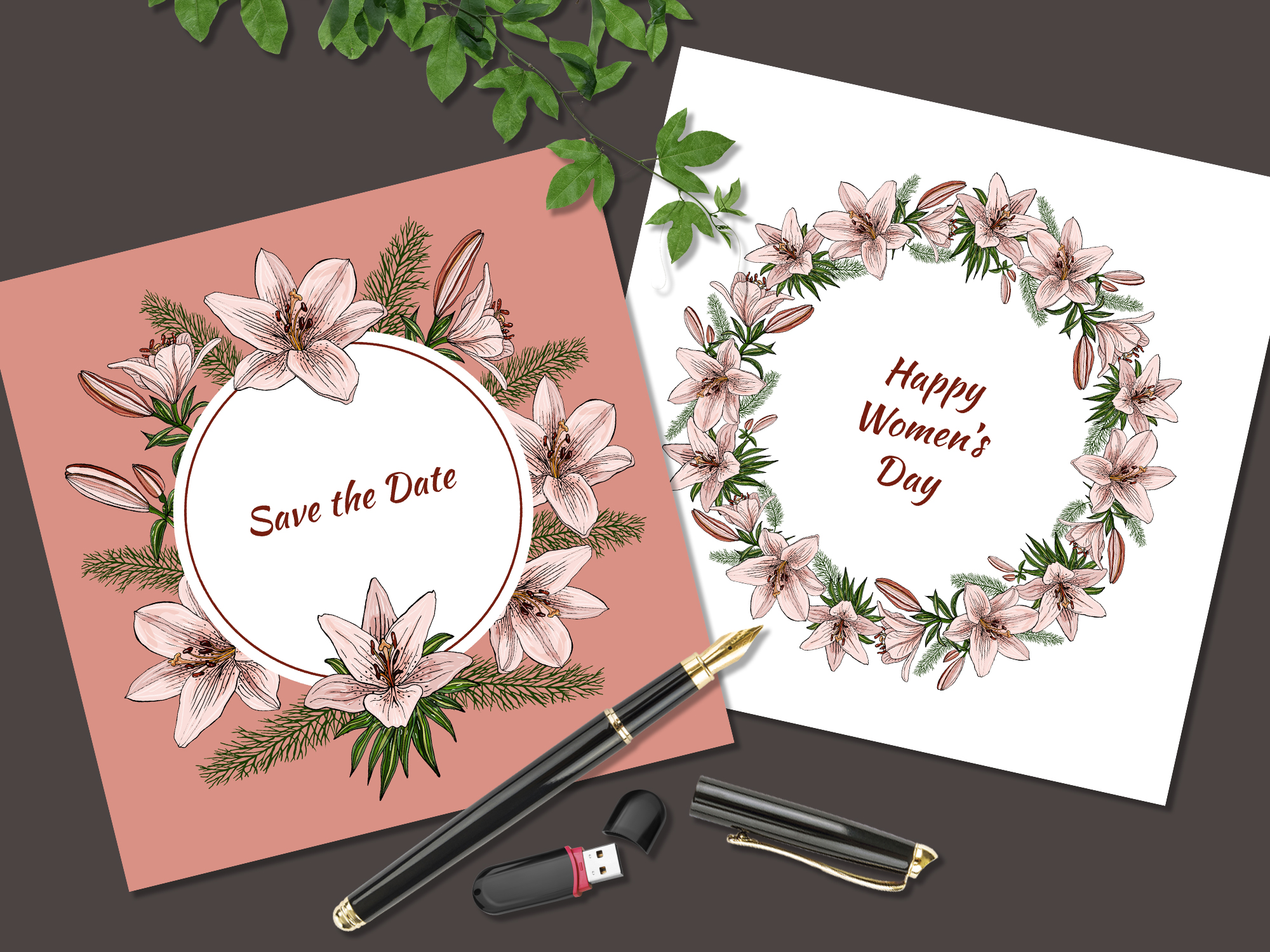 Design with lily flowers. Seamless patterns and postcards. example image 8