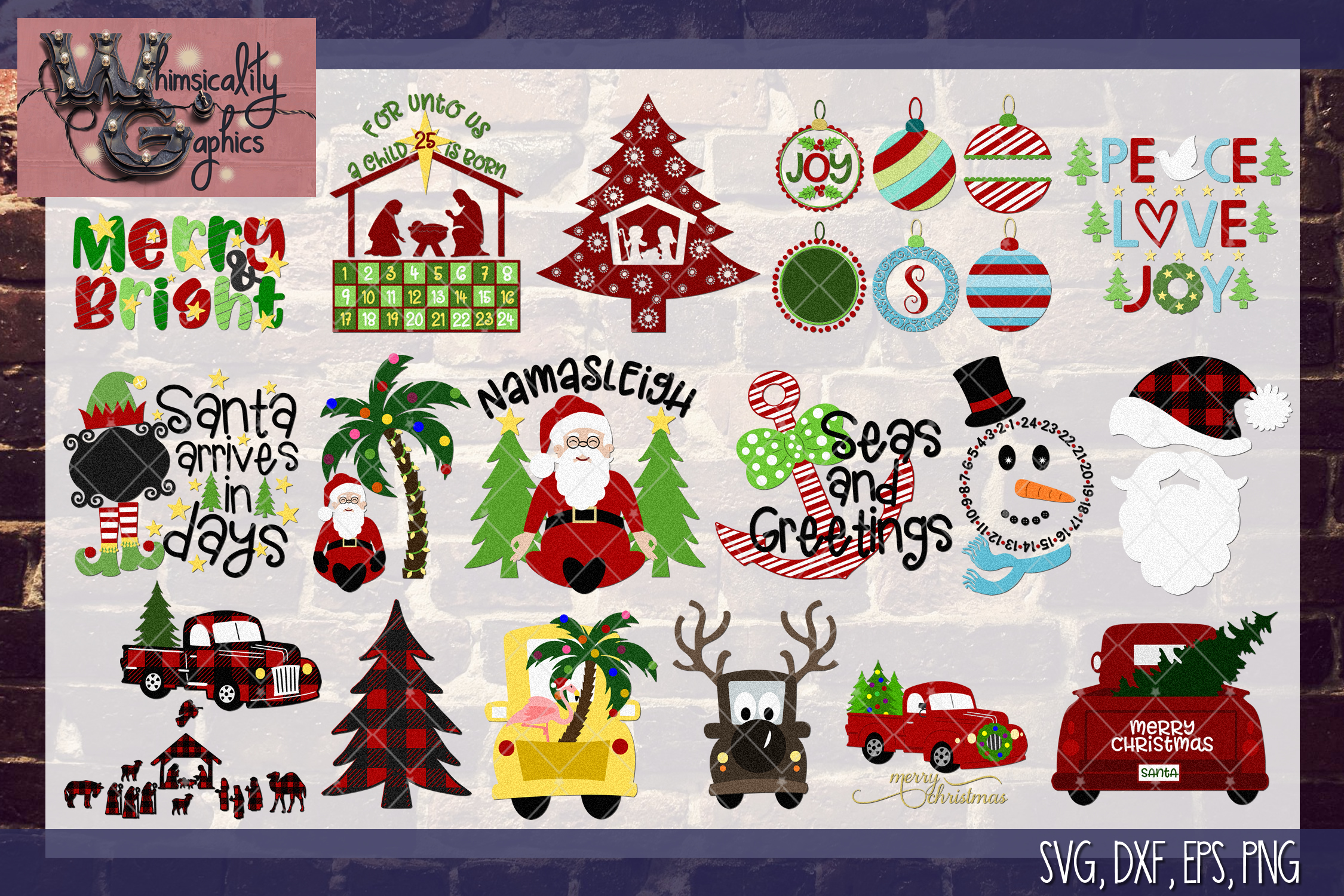 2018 Ultimate Christmas Bundle SVG, DXF, PNG, EPS Comm & Per example image 2