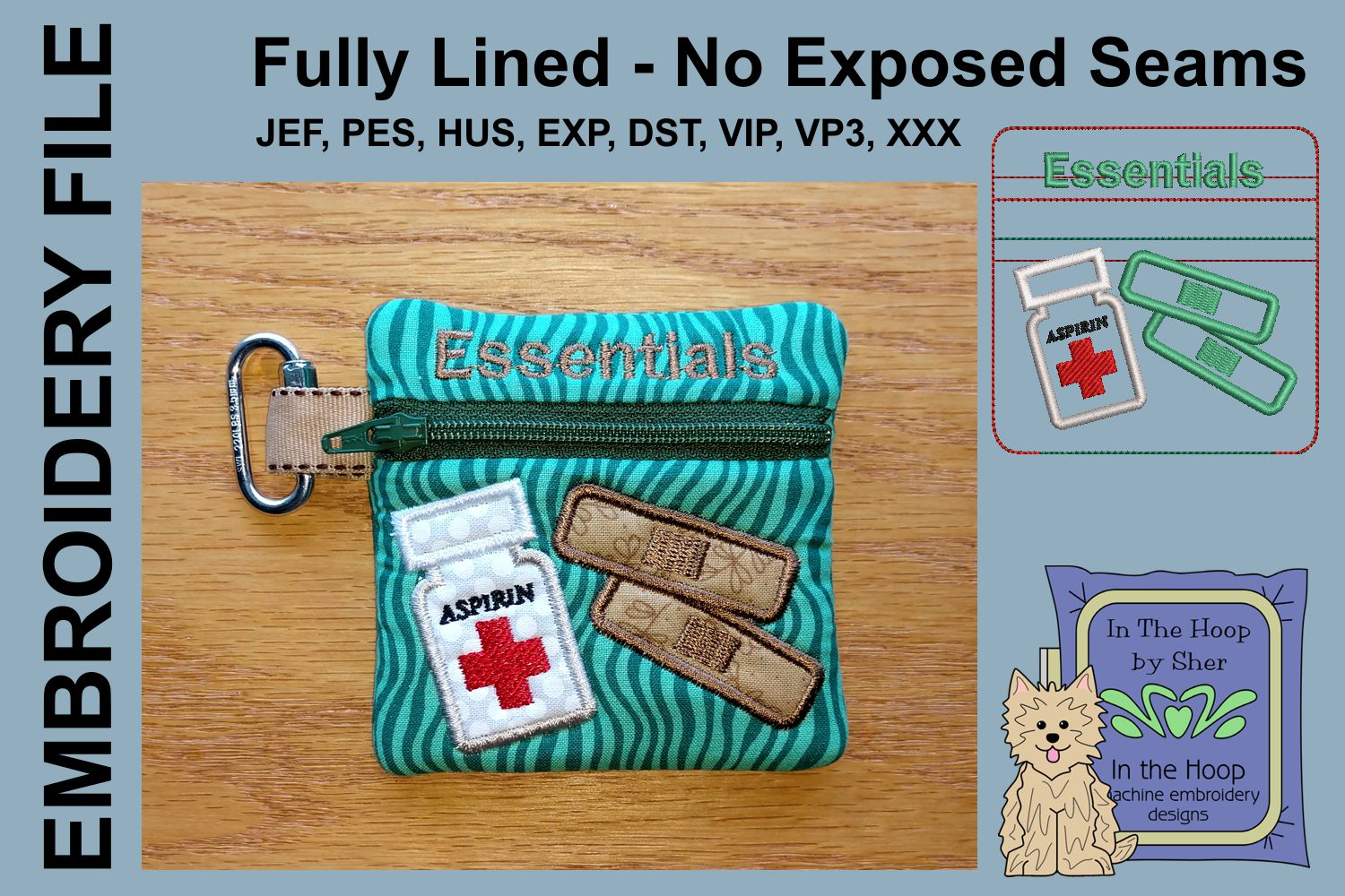 First Aid Mini Zipper Bag / Fully Lined, 4X4 HOOP example image 1