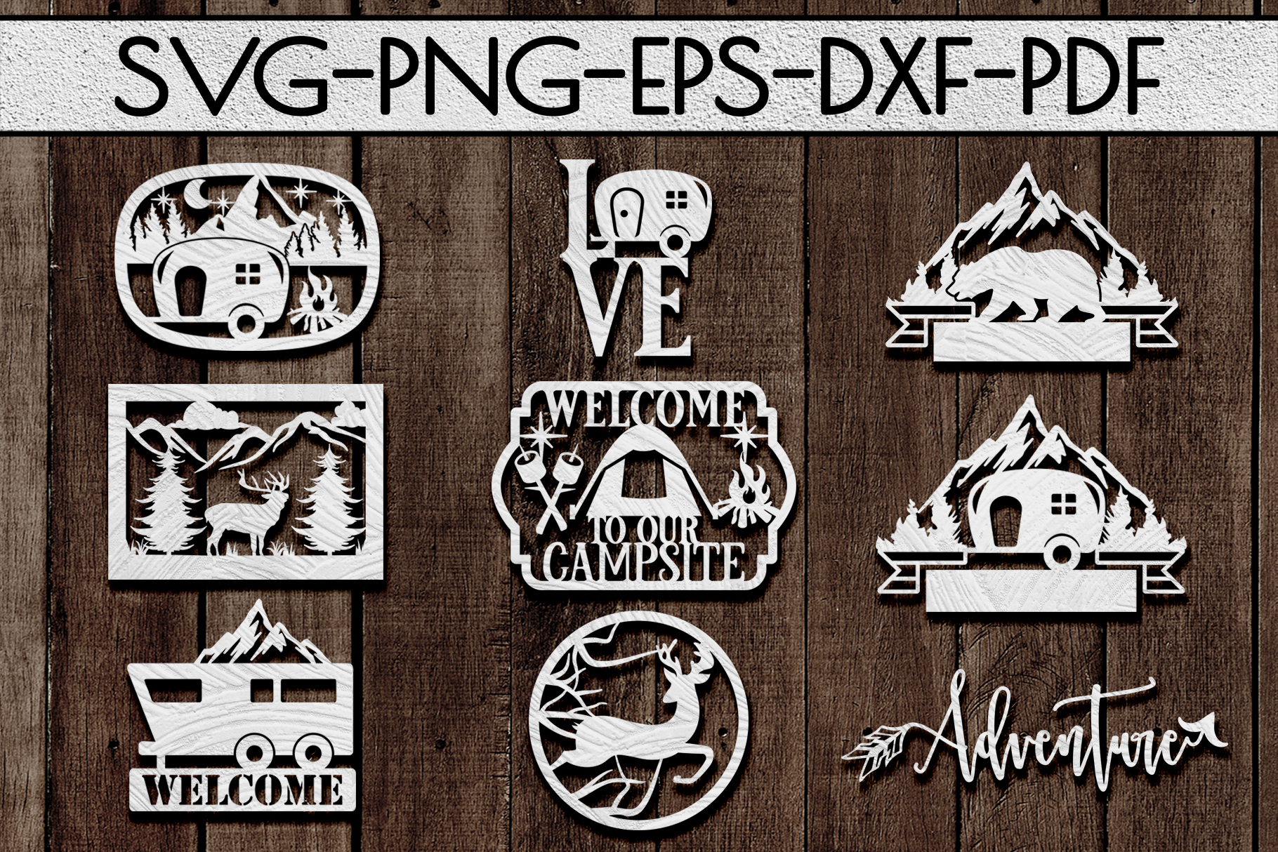 Camping Sign Papercut Templates Bundle, Adventure SVG, DXF example image 1
