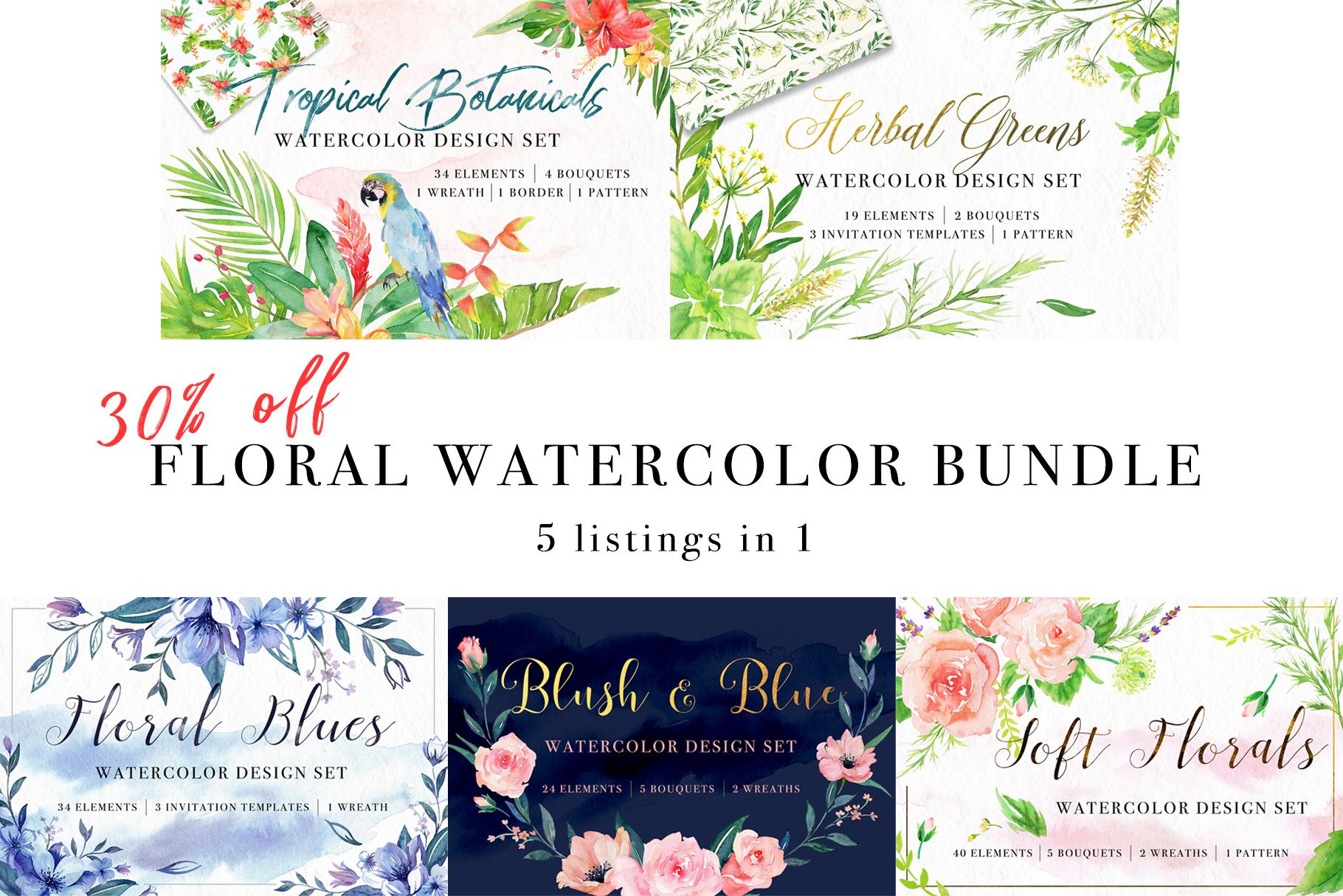 Floral Watercolor Bundle example image 1