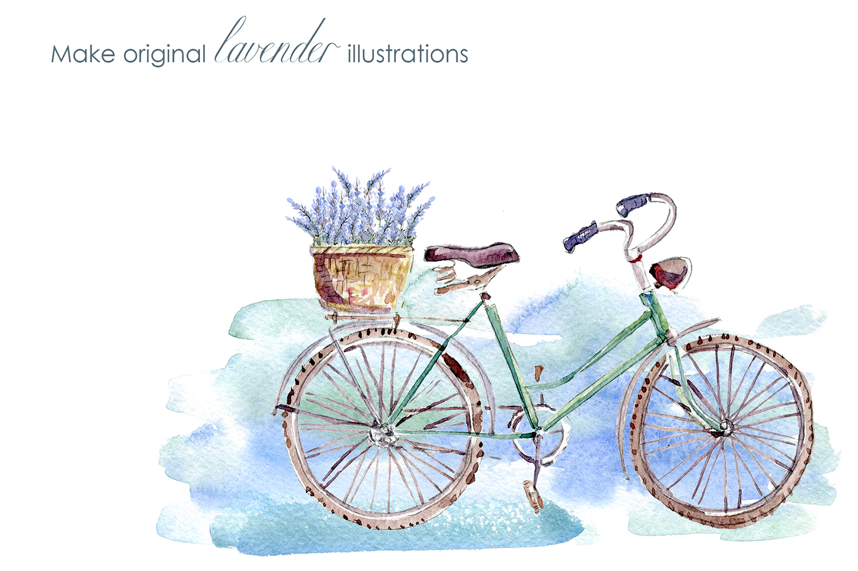 Lavender WATERCOLOR clipart set example image 10