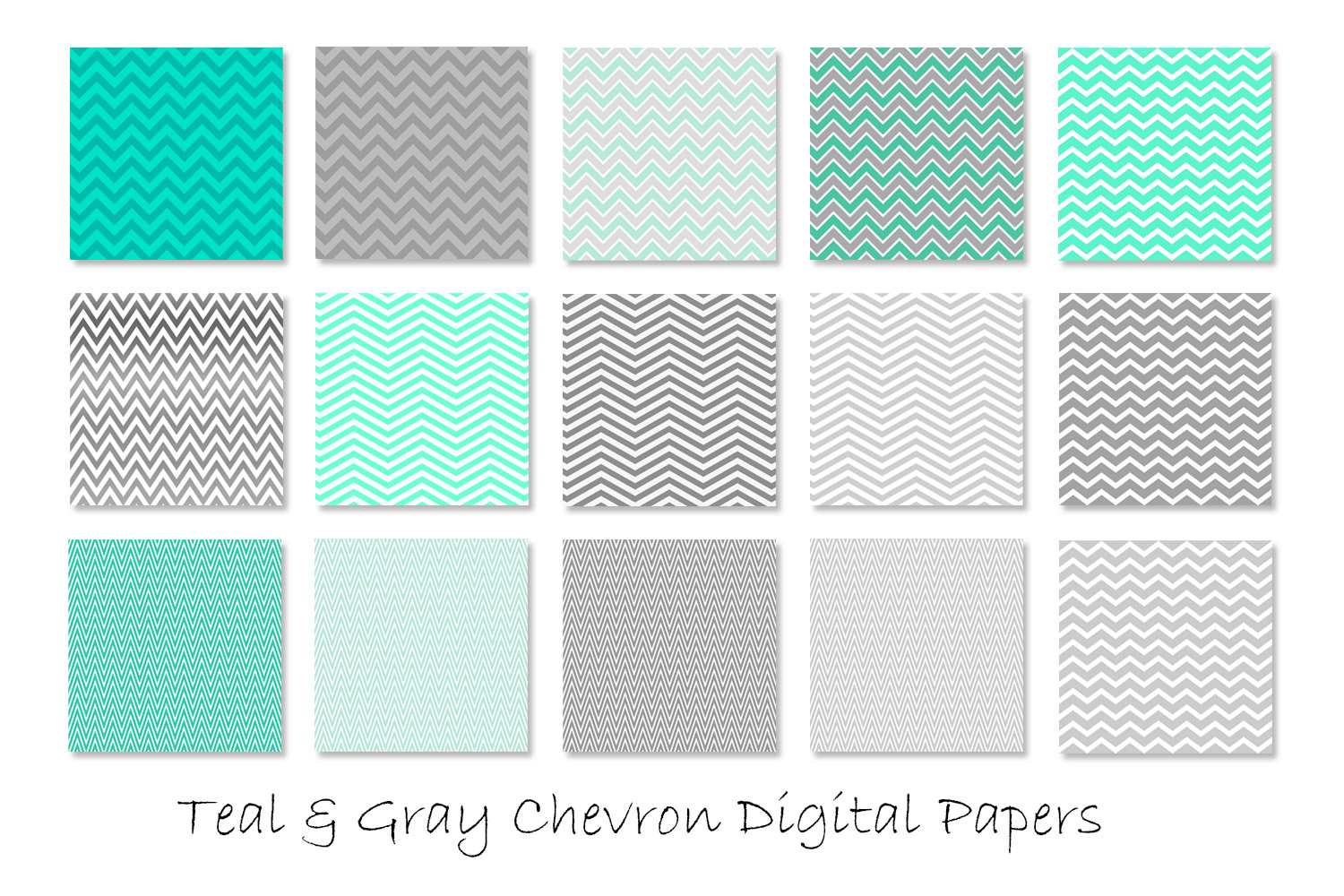 Teal & Gray Chevron Patterns example image 2
