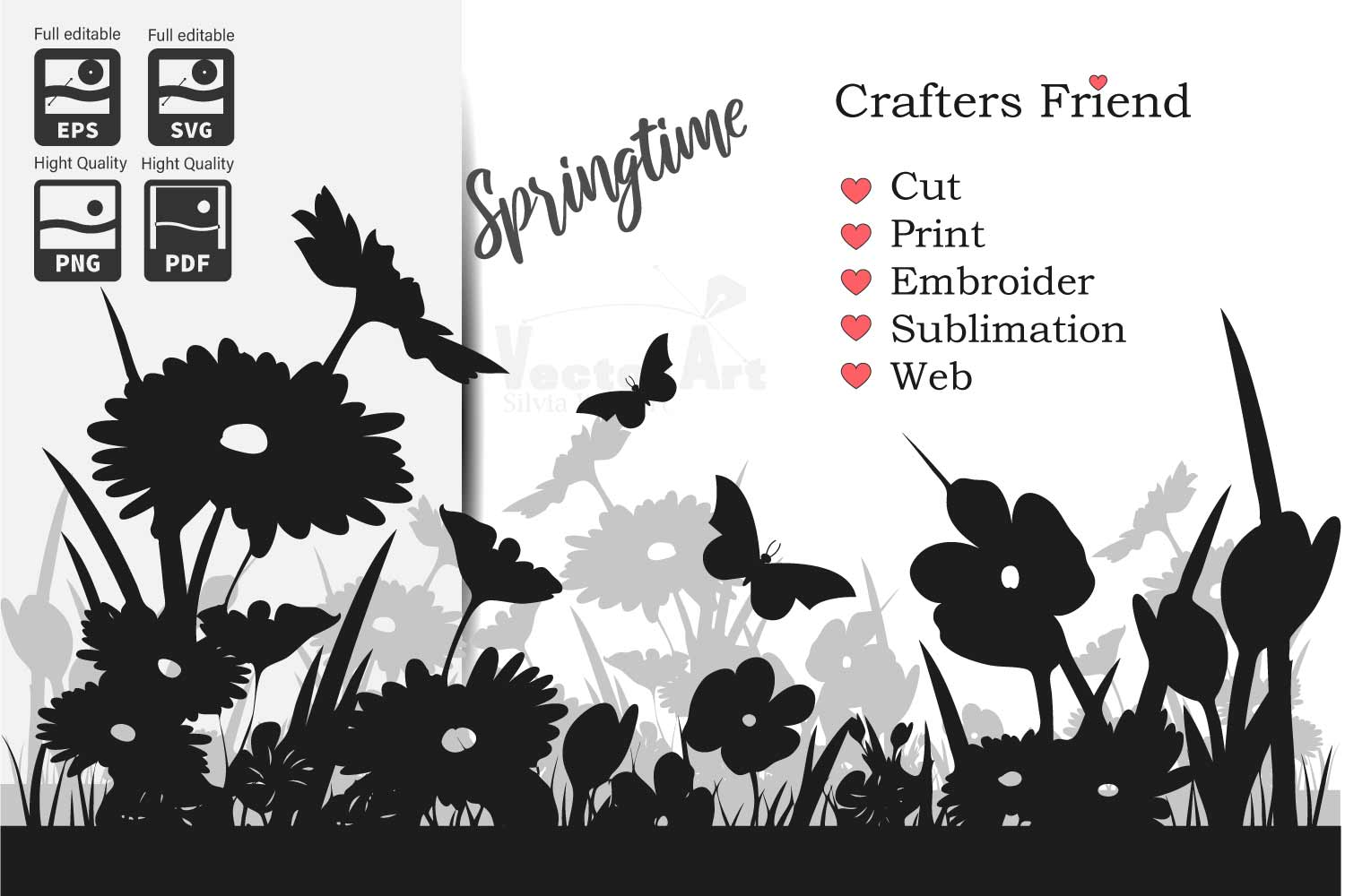 Spring Flowers - Cut File for Crafter example image 1