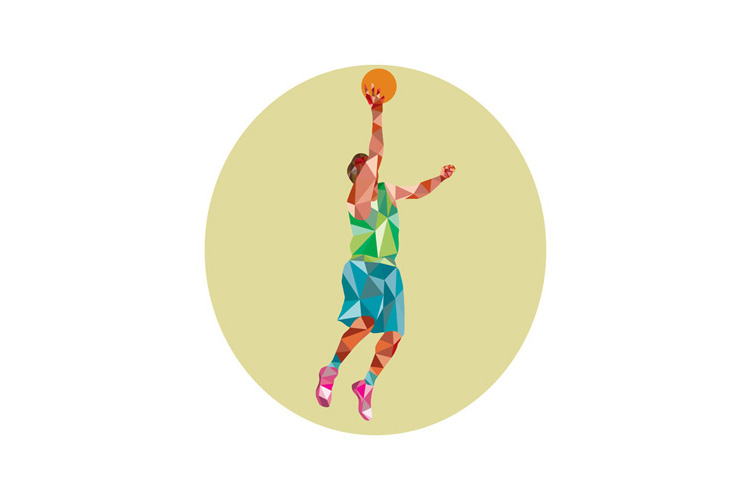 Basketball Player Lay Up Rebounding Ball Low Polygon example image 1