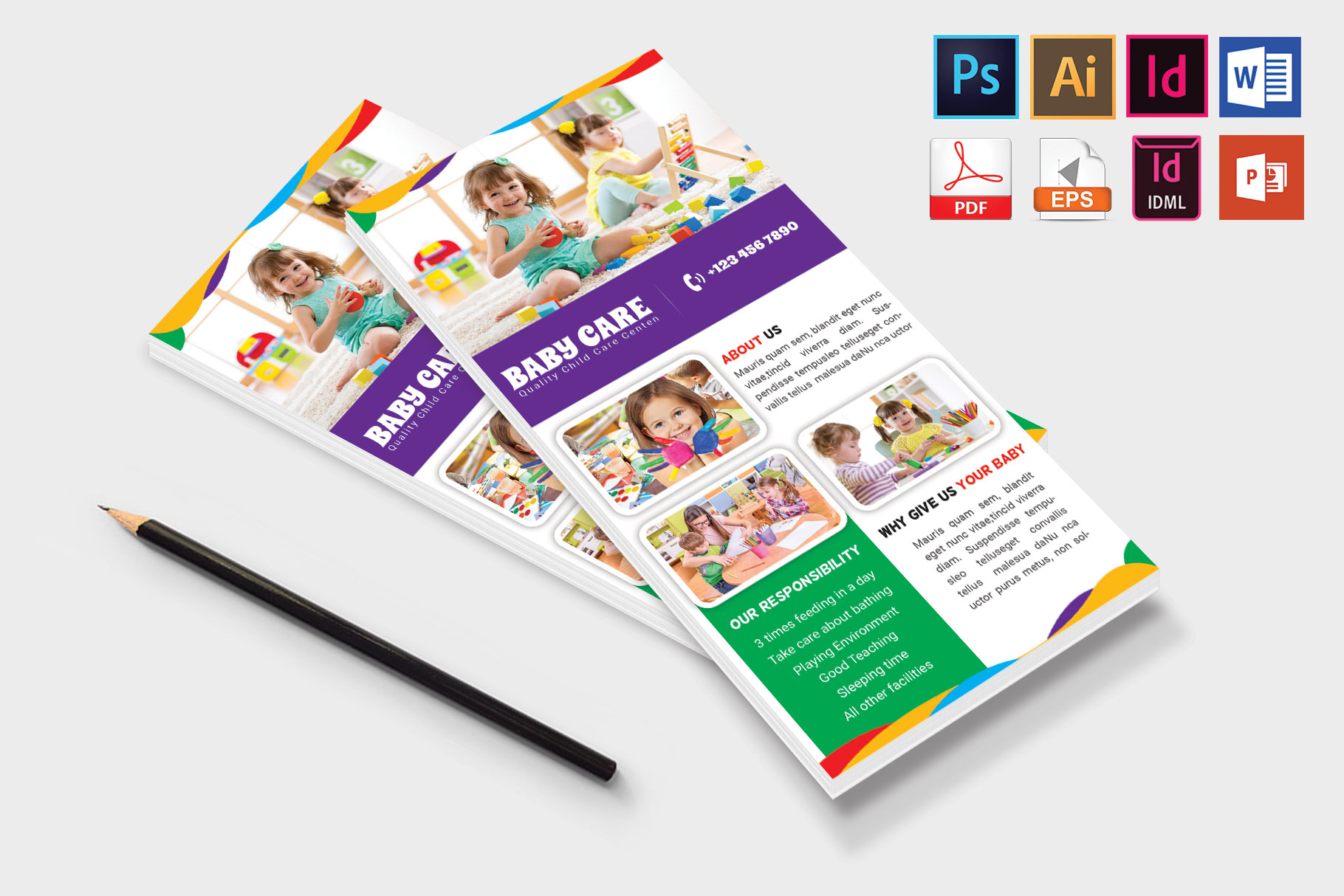 Rack Card | Baby Care DL Flyer Vol-02 example image 4