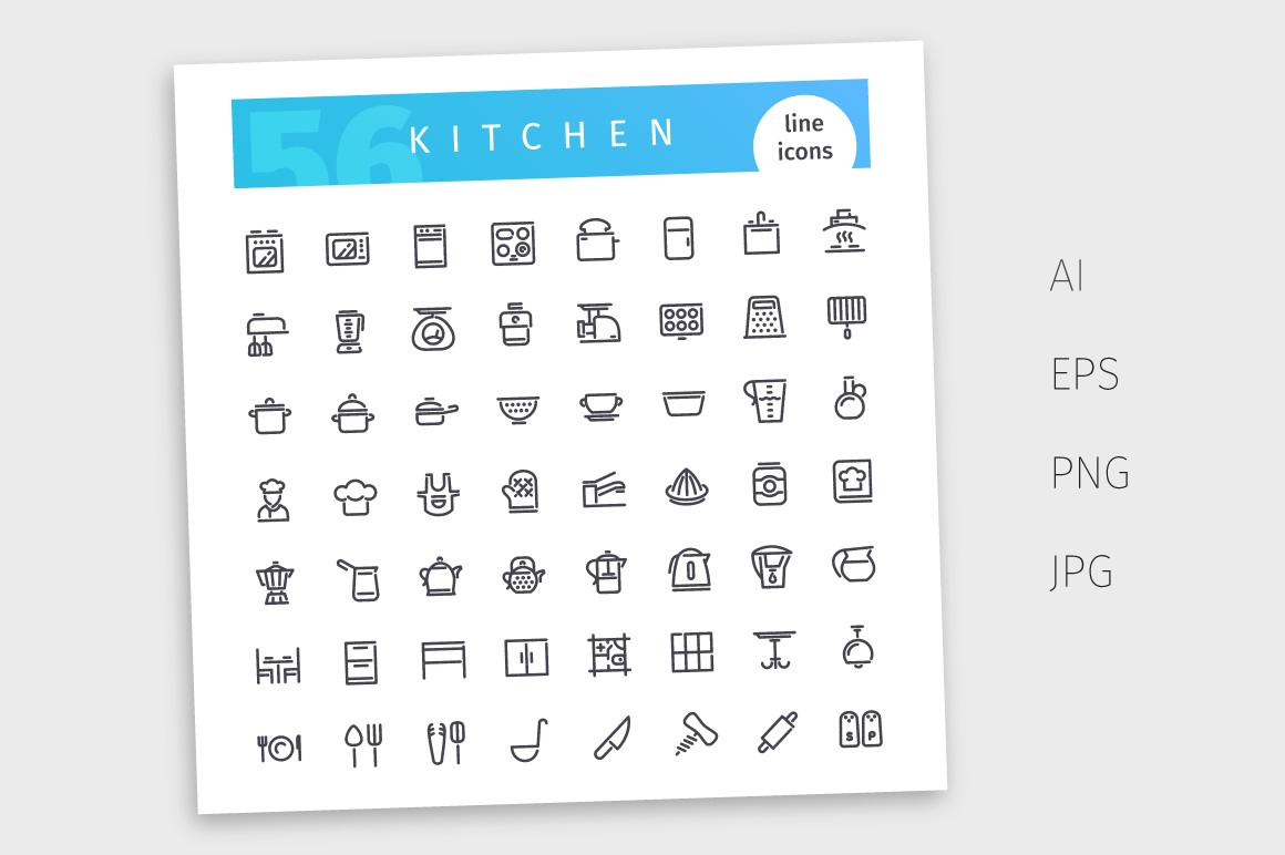 Kitchen Line Icons Set example image 4