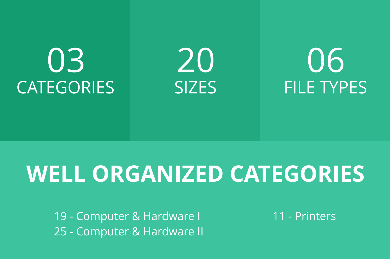 55 Computer & hardware Flat Icons example image 3