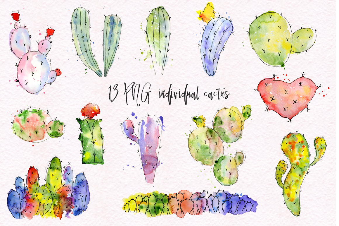 Boho Watercolor abstract Cactus Tropical clipart example image 3