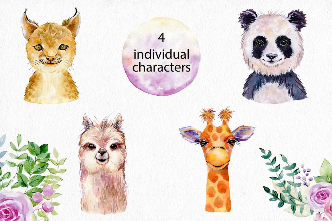 Animals. Watercolor collection. example image 2