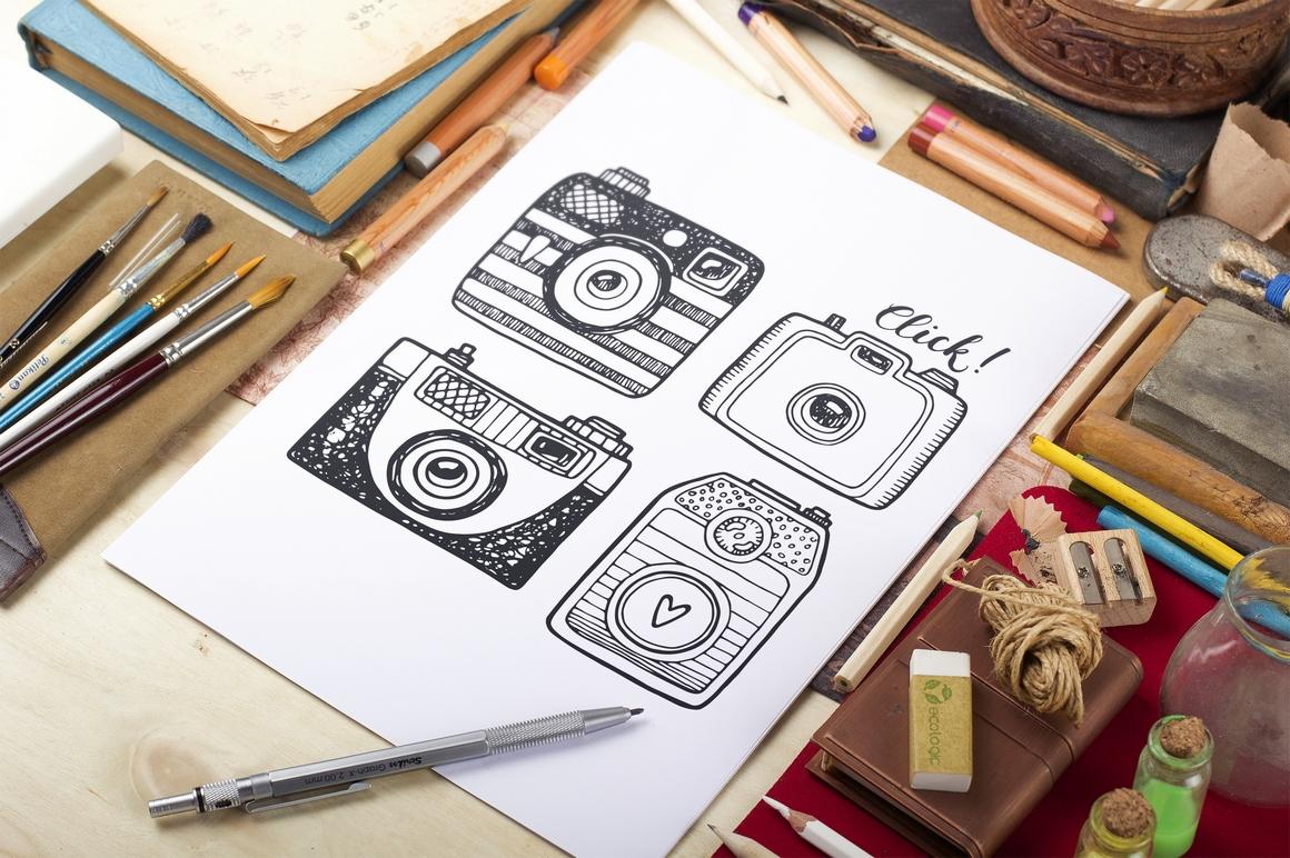 Hand drawn camera set +patterns example image 8