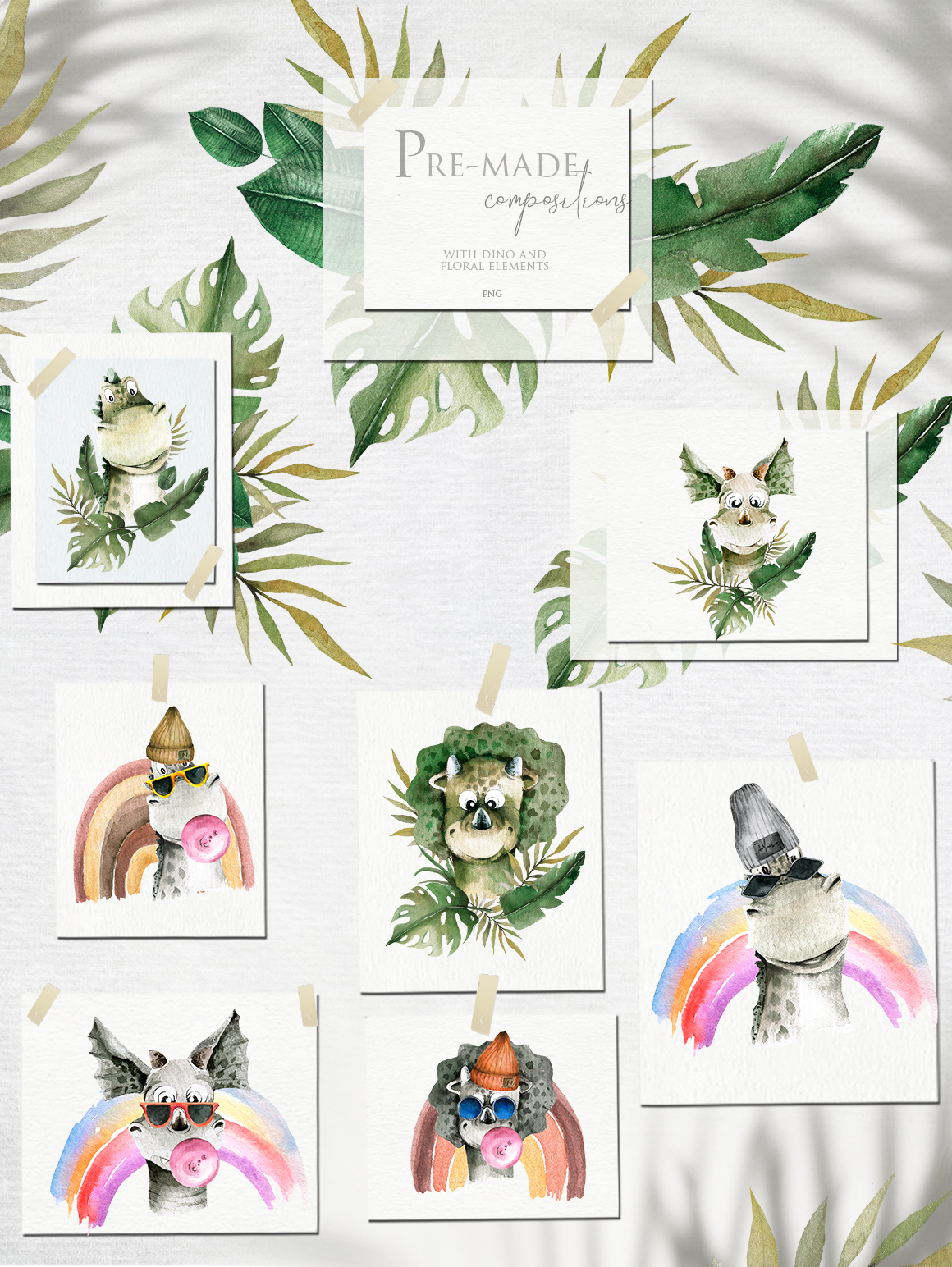 Fashion and cute dino. Watercolor collection example image 6