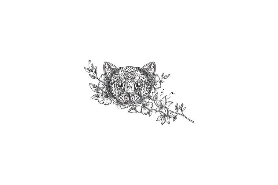 Cat Head Jasmine Flower Tattoo example image 1