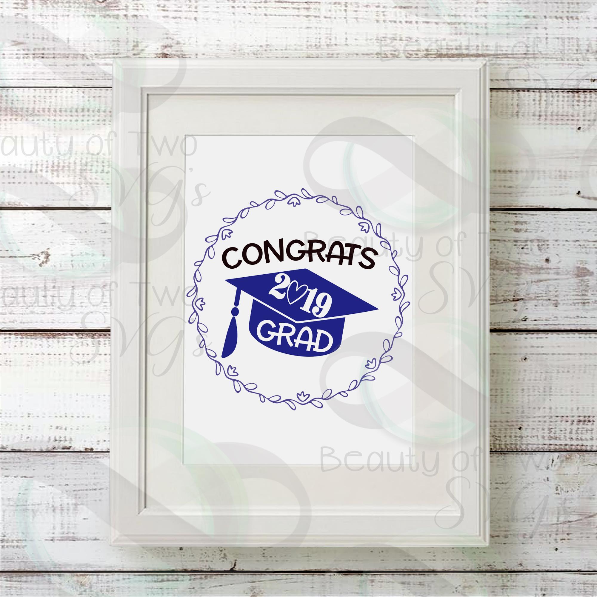 2019 Grad svg and png, Congrats 2019 Graduate svg example image 2