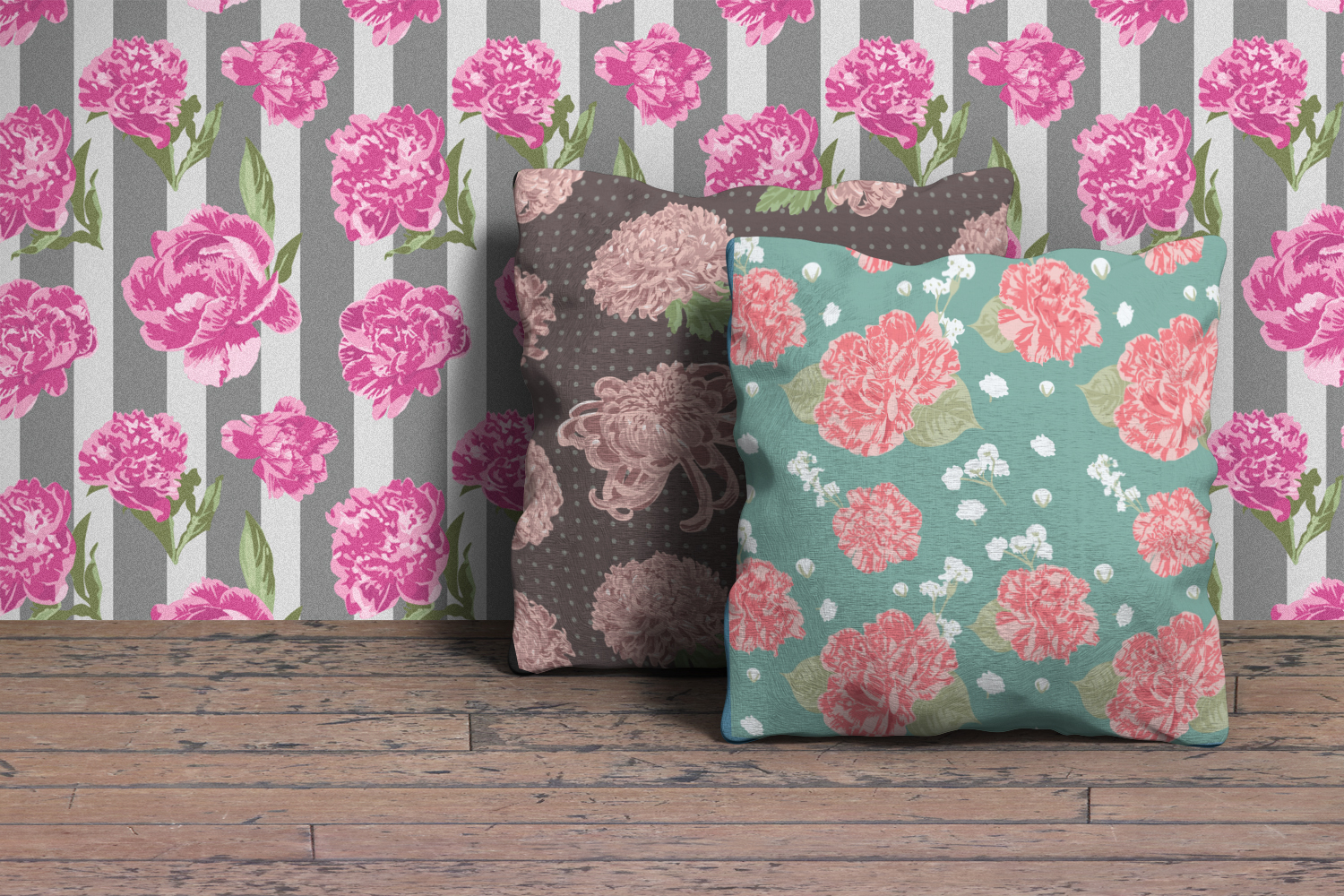 Vector Flowers Seamless Pattern Set example image 6