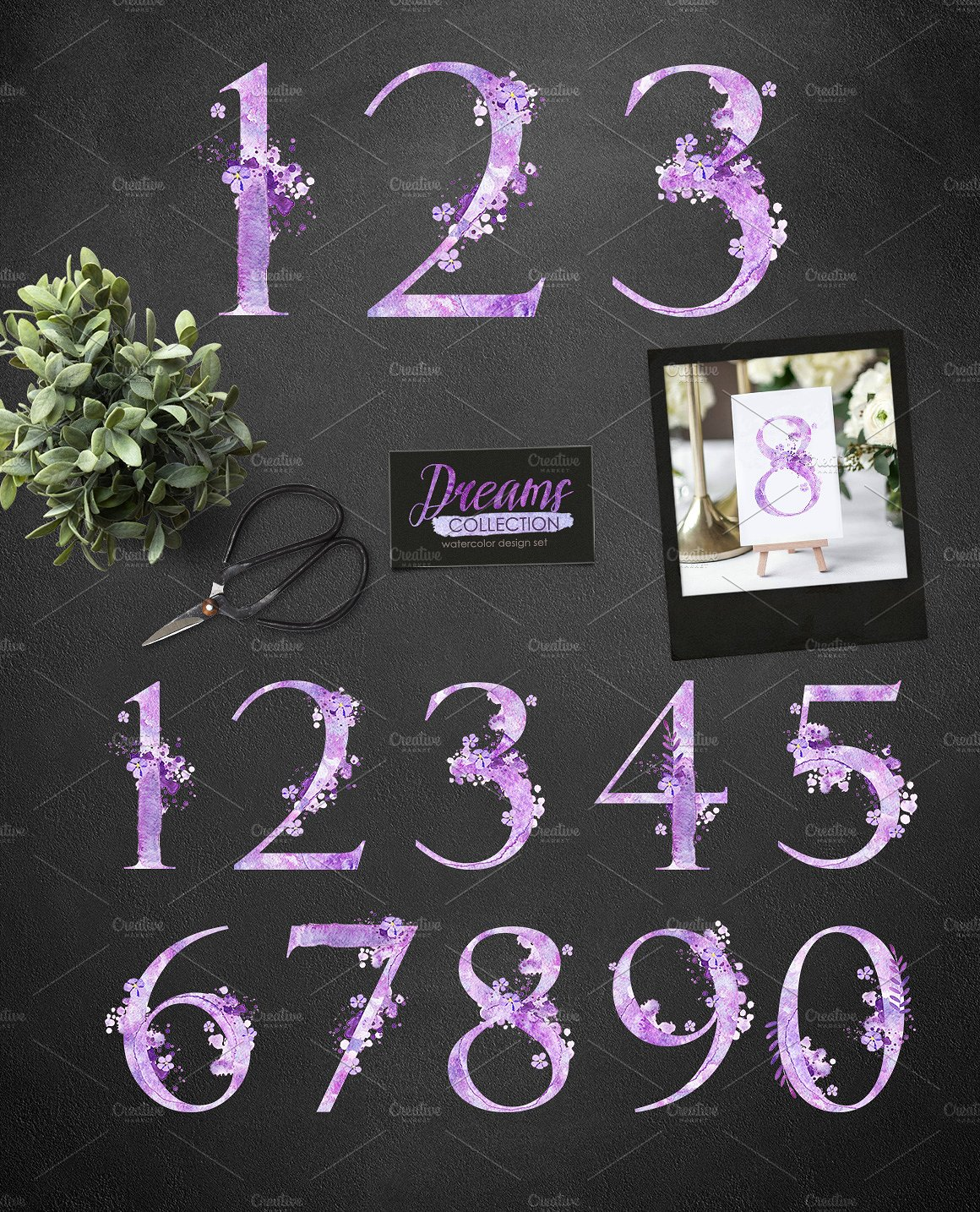 Watercolor numbers - DREAMS example image 4