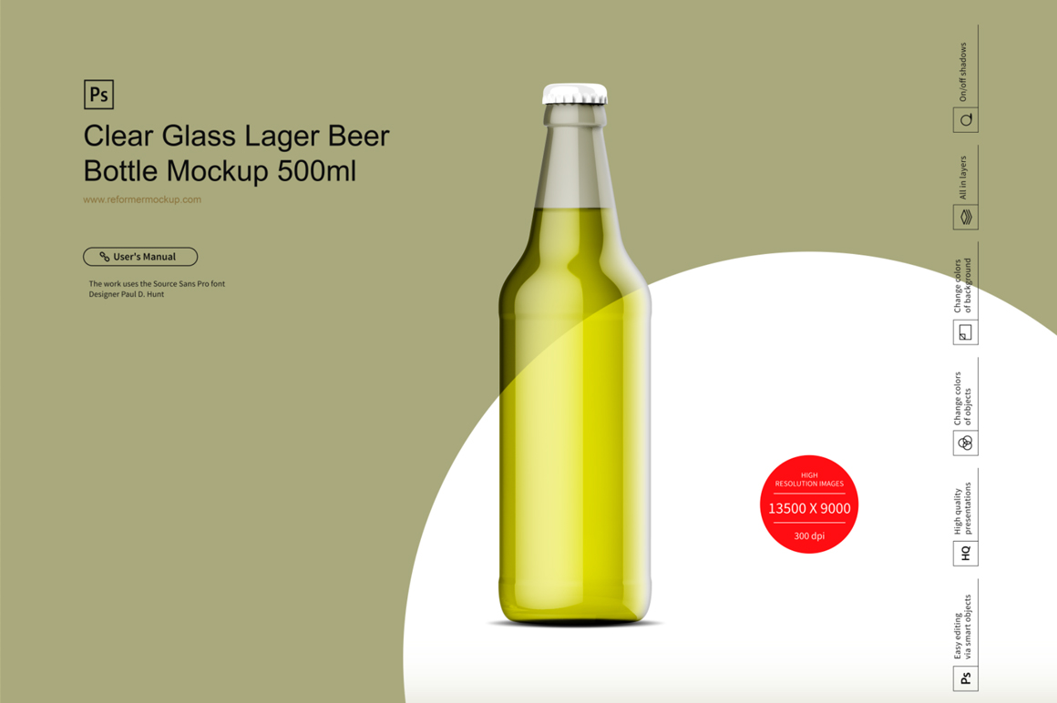 Clear Glass Lager Beer Bottle Mockup 500ml example image 3