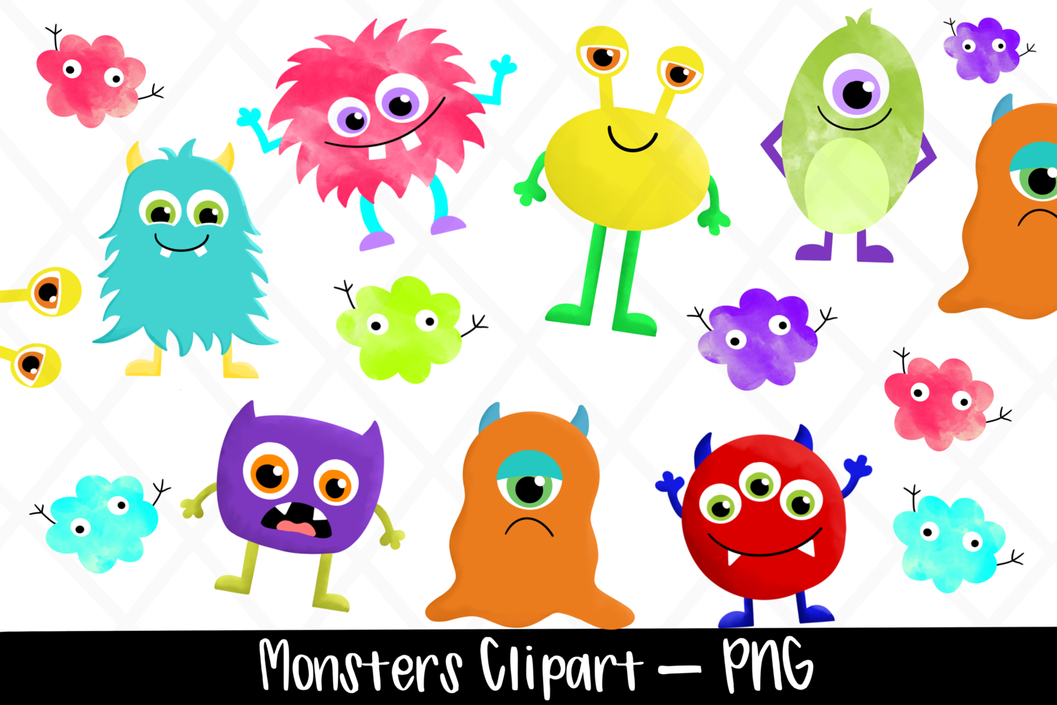 Watercolor Monsters Clipart Bundle example image 1