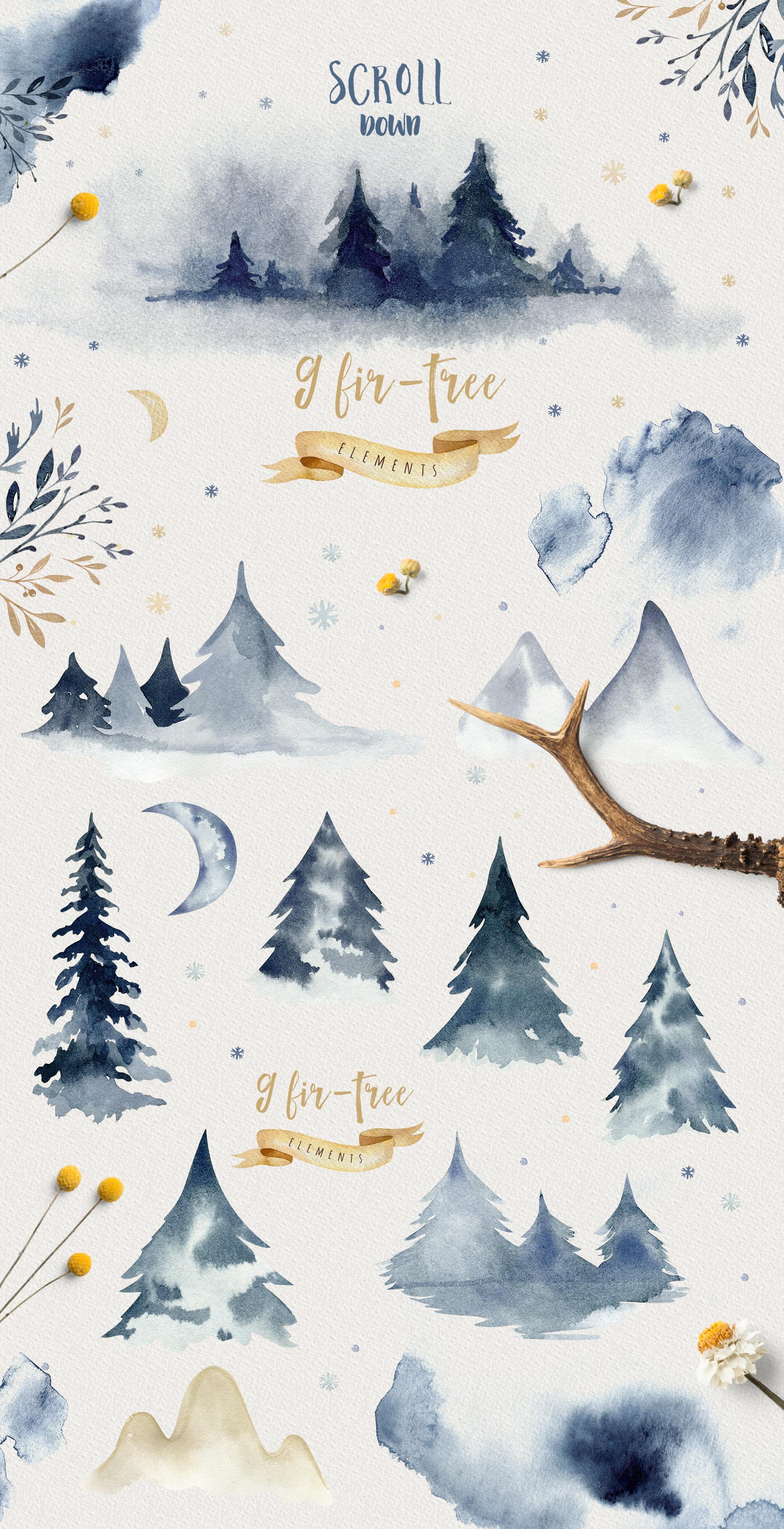 Indigo watercolor collection example image 5