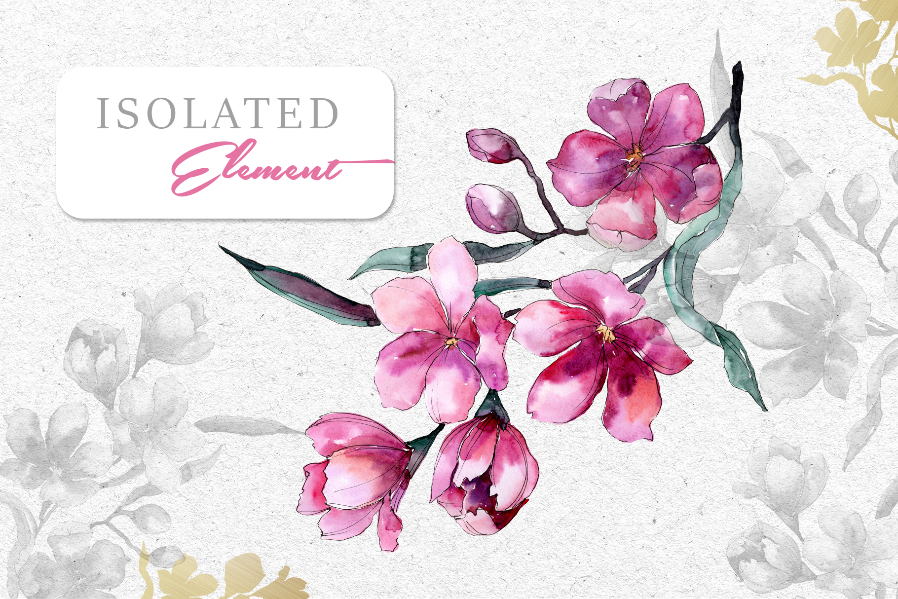 Bouquet of pink flower PNG watercolor pack example image 9