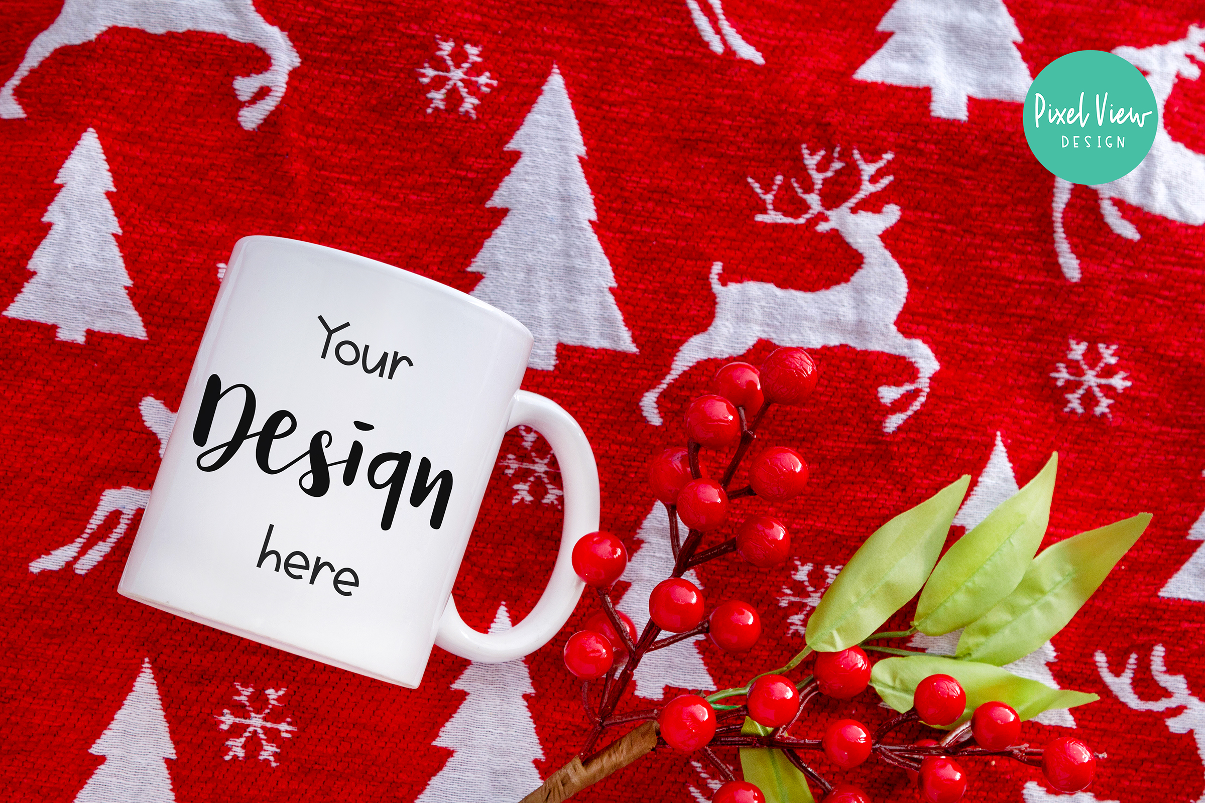 White Coffee Mug Mock-Up | Christmas example image 1