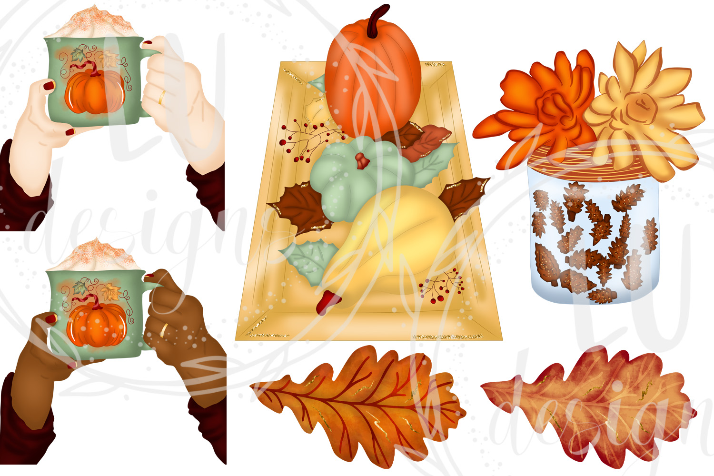 Fall Clipart, Autumn Graphics, Harvest Pumpkins Clipart example image 3