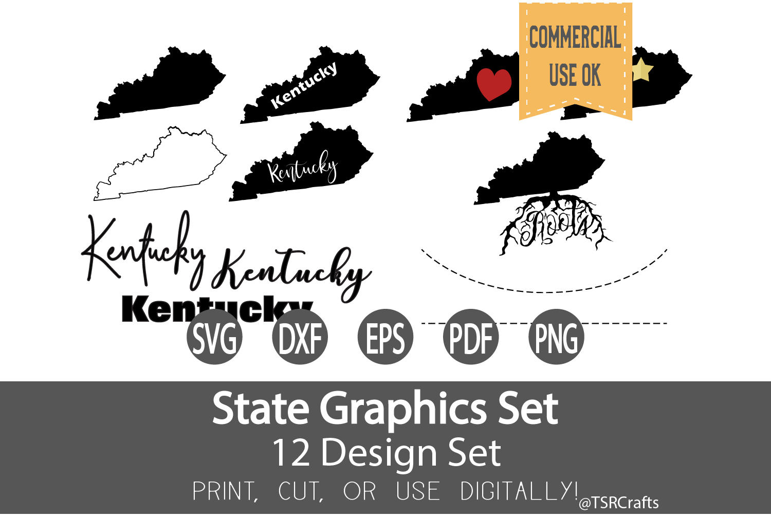 Kentucky State Graphics Set - Clip Art and Digital Cut files example image 1