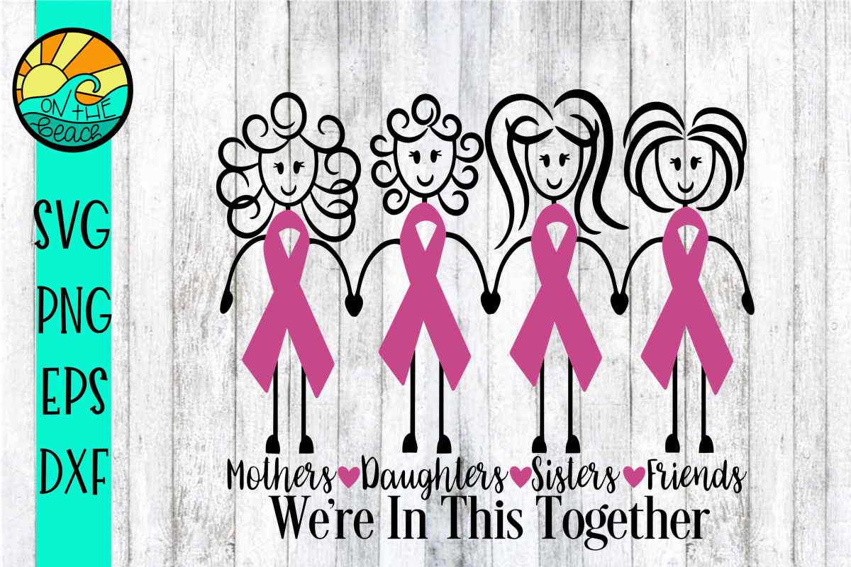 We're In This Together - Cancer Ribbon Girls - SVG PNG DXF E example image 2