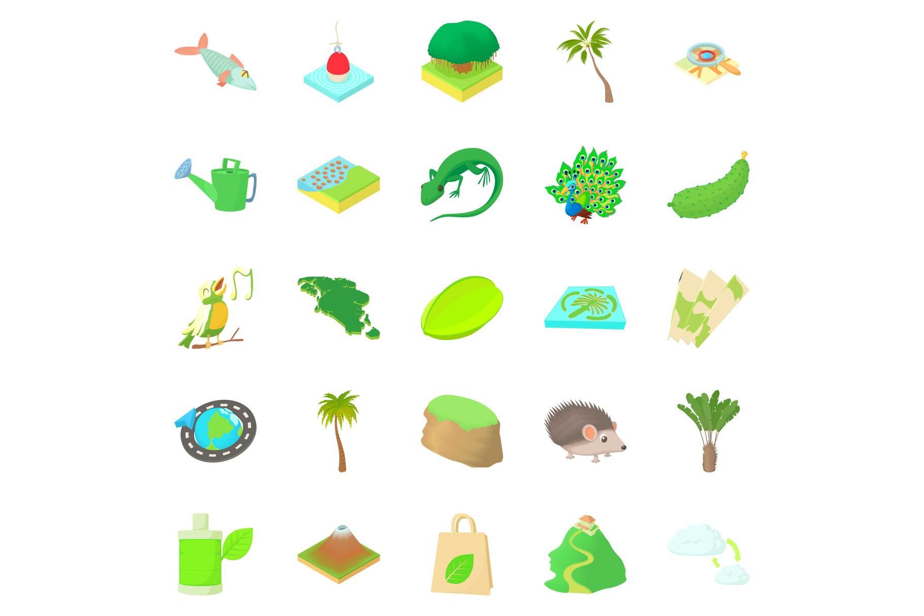 Hiking trails icons set, cartoon style example image 1