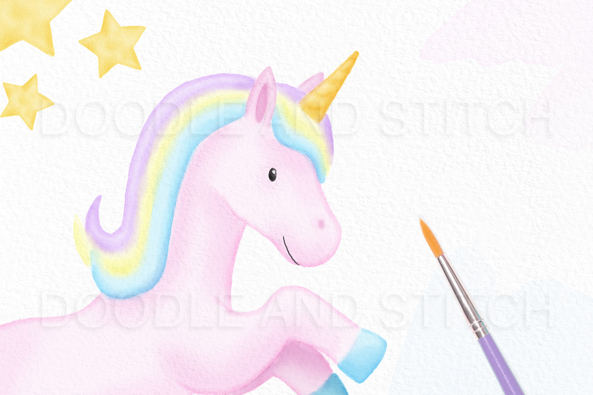 Unicorn Watercolor Illustrations example image 2