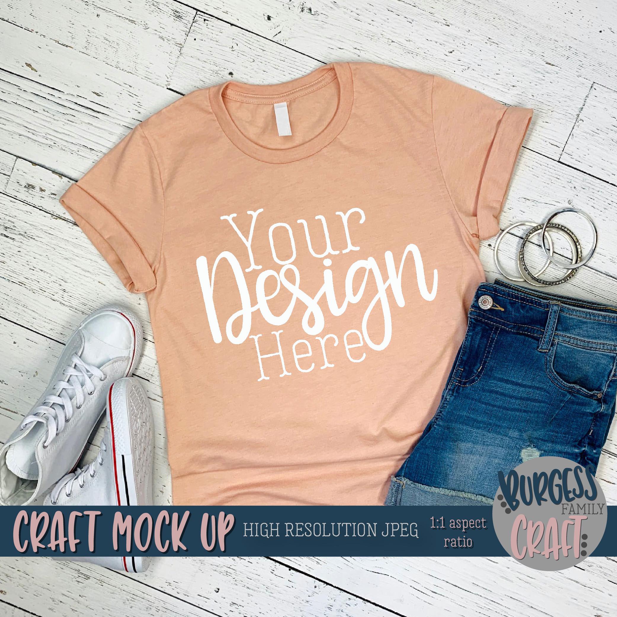 Summer peach shirt Pt 2 3001 Craft mock up | High Res JPEG example image 2
