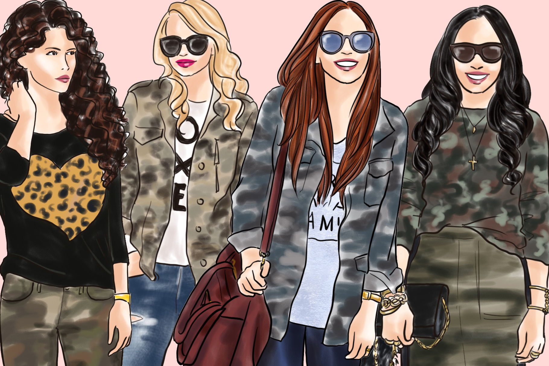 Fashion illustration clipart - Girls in Camo - Light Skin example image 3