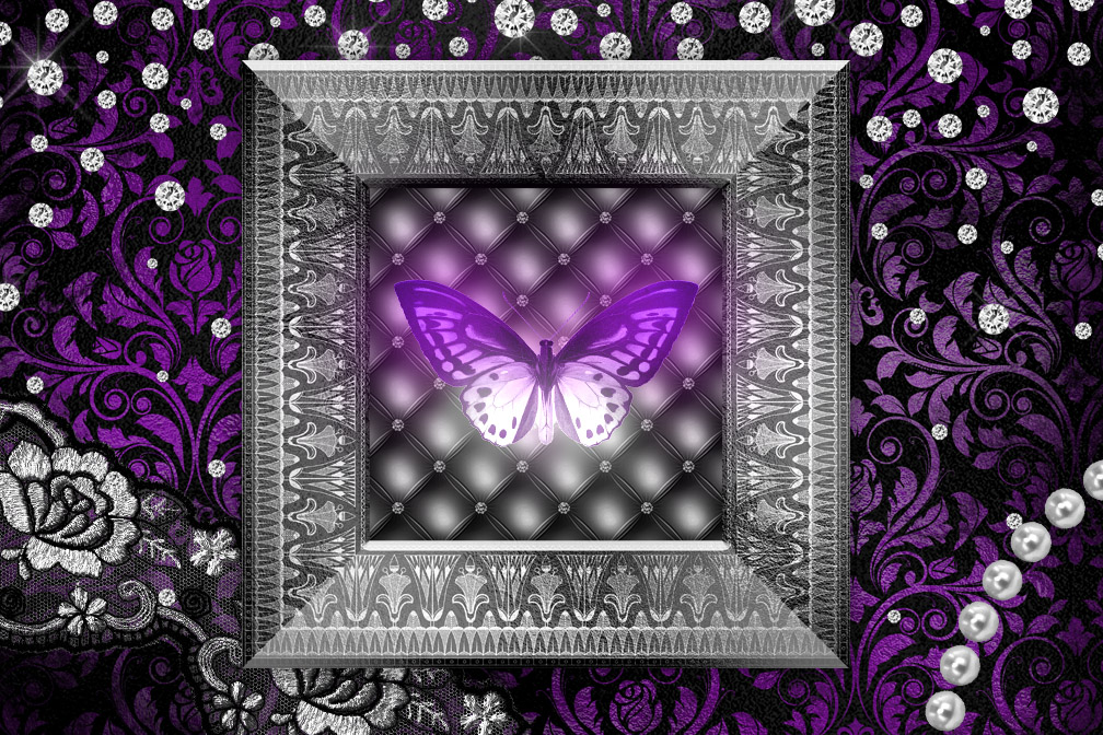 Black Purple and Silver Digital Scrapbooking Kit example image 2