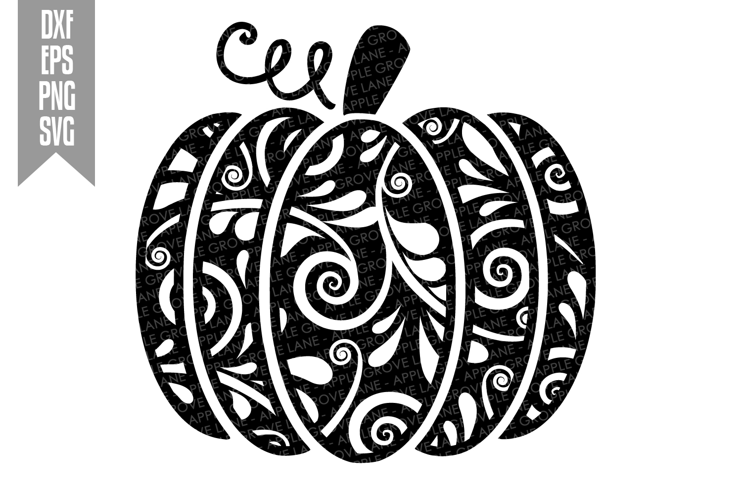 Swirly Pumpkin Svg Cut File - Fall Pumpkin Svg Dxf Eps Png example image 2