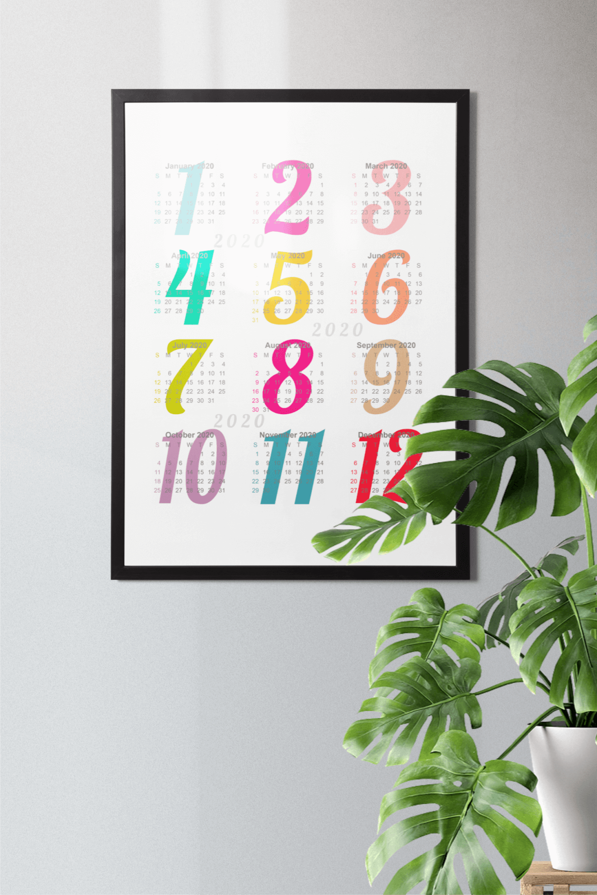 Wall Calendar 2020 Letter & Poster Size Printable PDF PNG example image 6