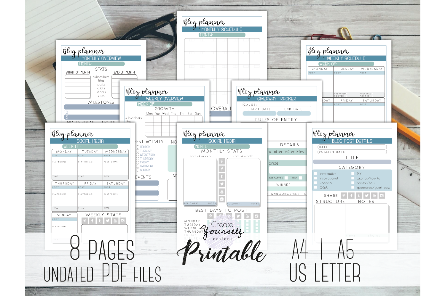image about Blog Planner Printable named Website planner printable - social media tracker, small business system