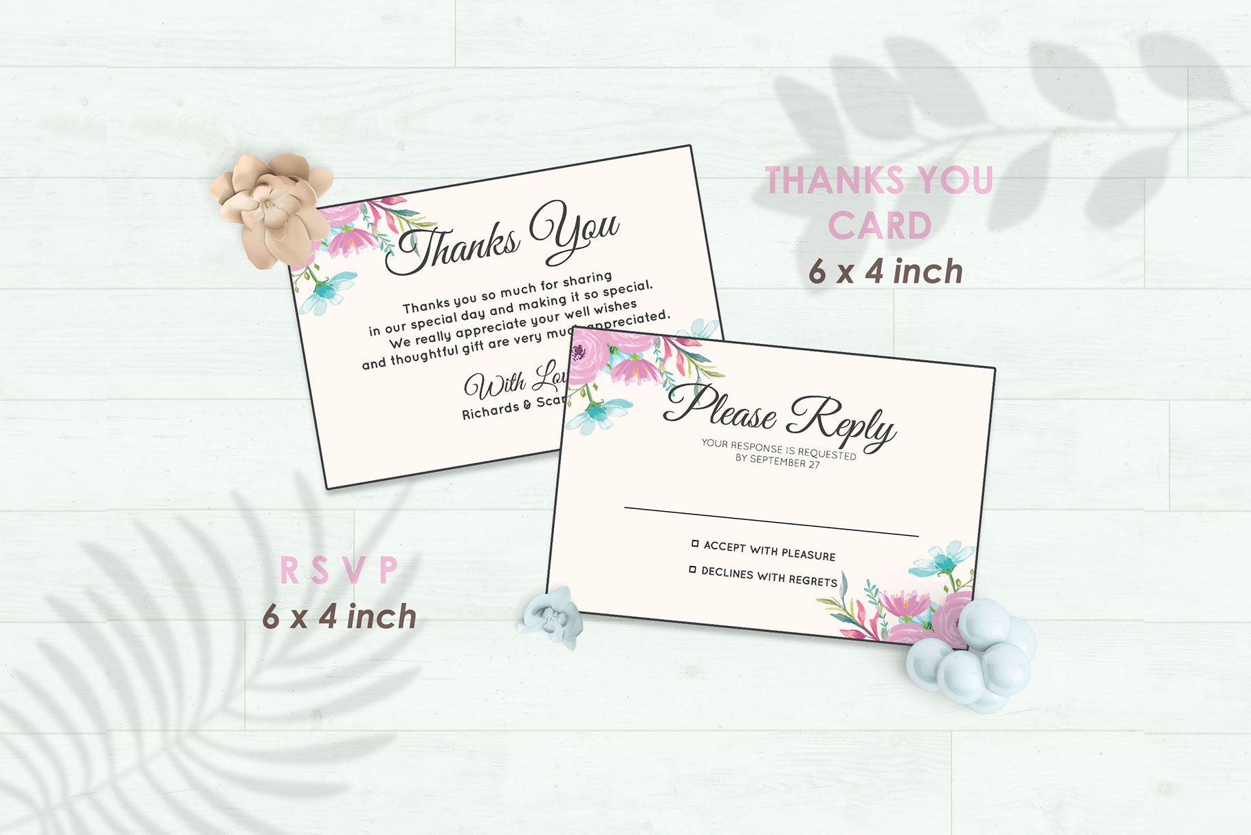 Wedding Invitation Set #12 Watercolor Floral Flower Style example image 4