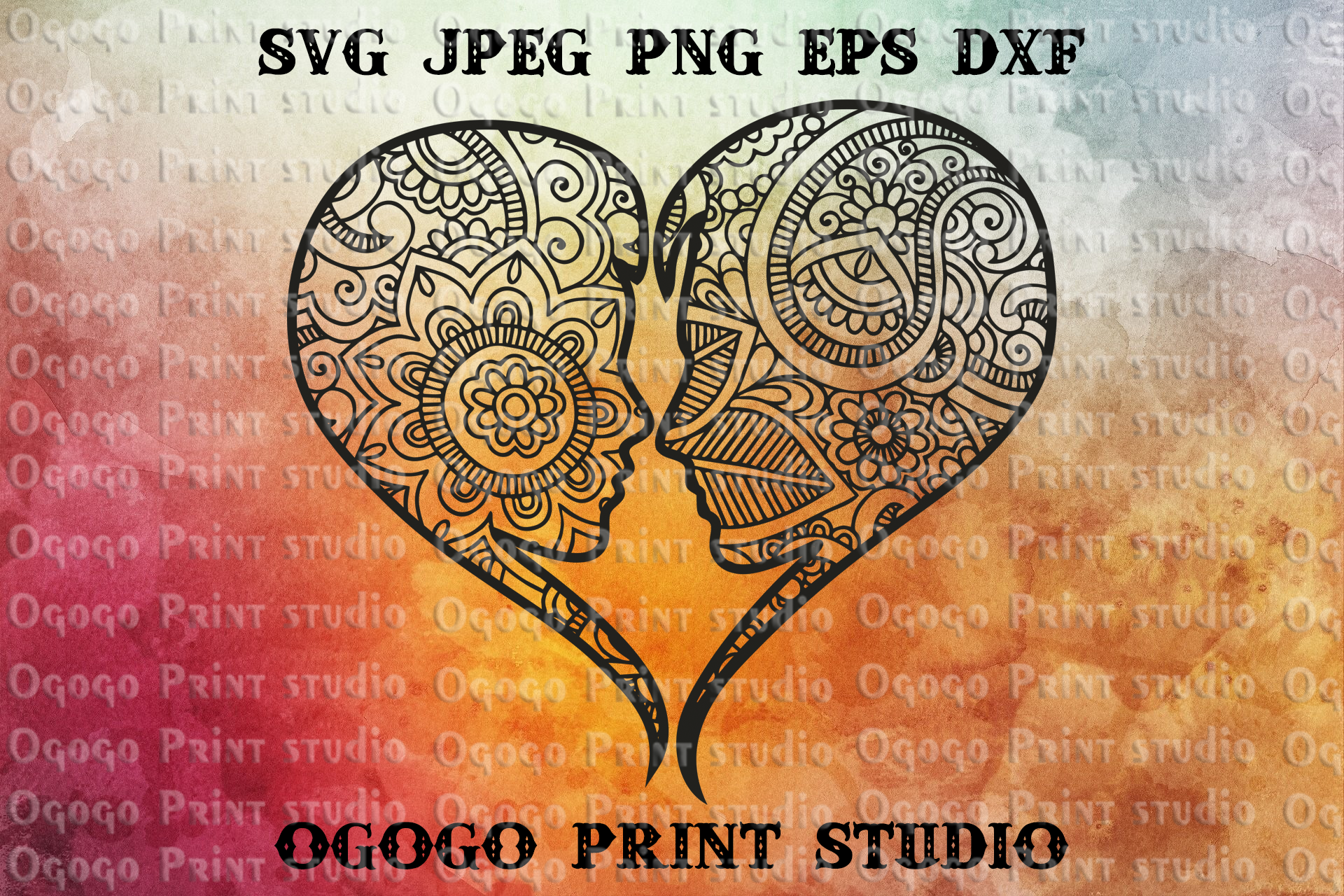 Heart SVG, Mandala svg, Zentangle SVG, Love svg, Kiss svg example image 1