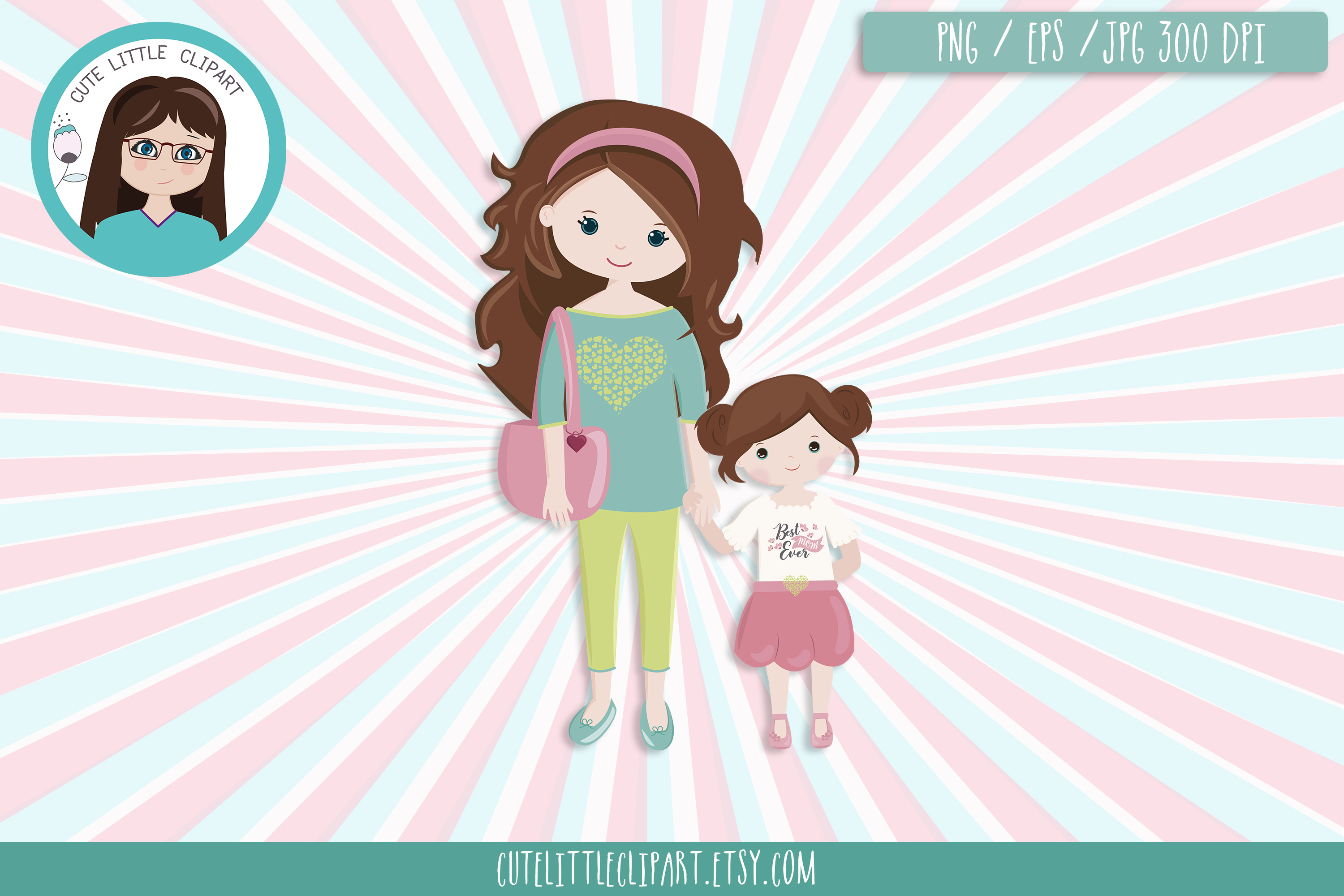 Mom and daughter clipart example image 4