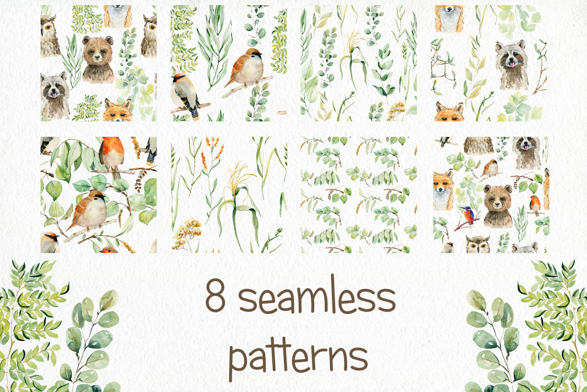 Woodland Animals. Watercolor set. example image 5