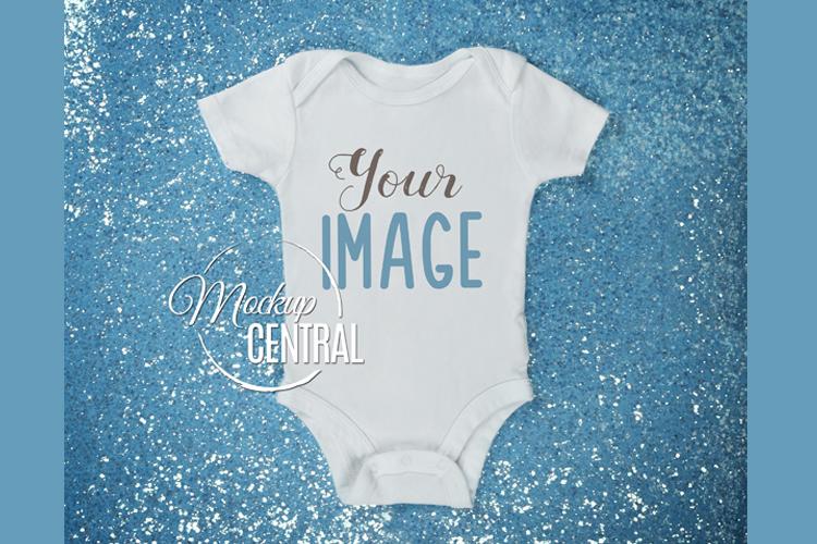 Blue Sparkle Baby Girl Onepiece Bodysuit Mockup Shirt JPG example image 1