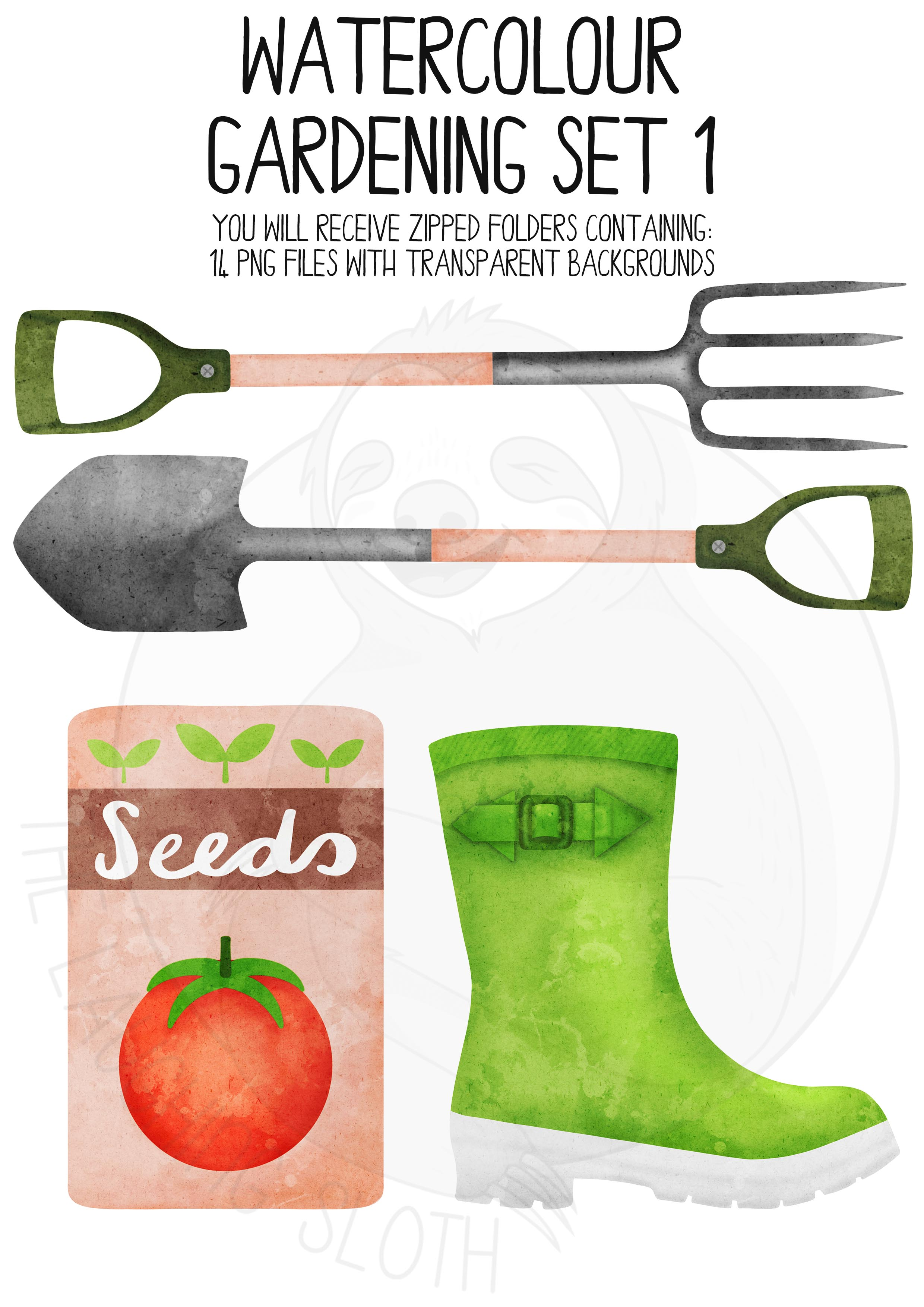 Watercolor Gardening Clip Art Set example image 3