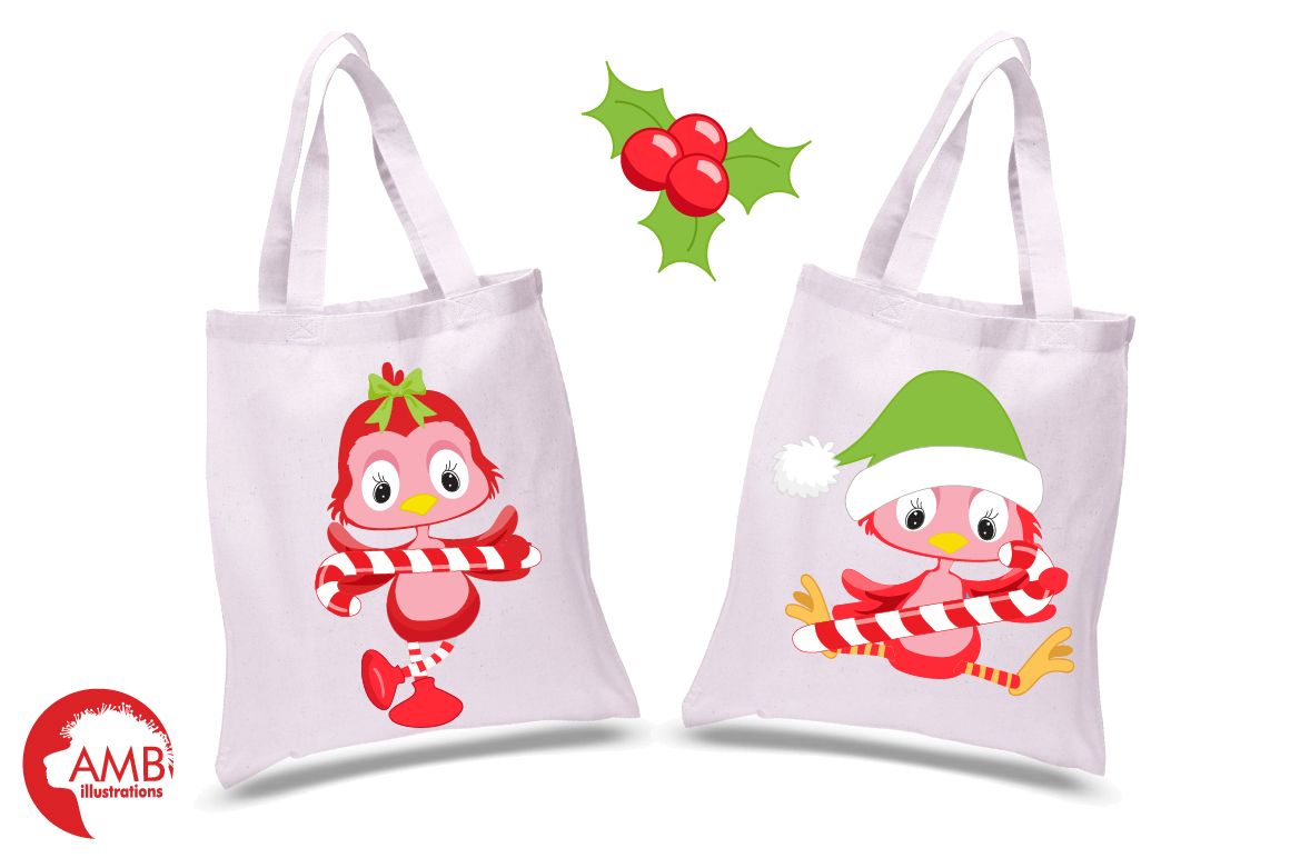 Christmas red birds clipart, graphics, illustrations AMB-193 example image 2