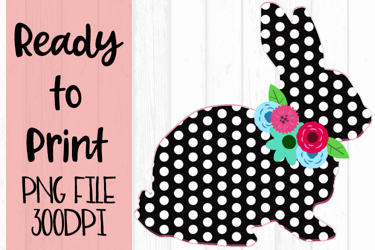 Polka Dot Easter Bunny with Flowers Ready to Print example image 1