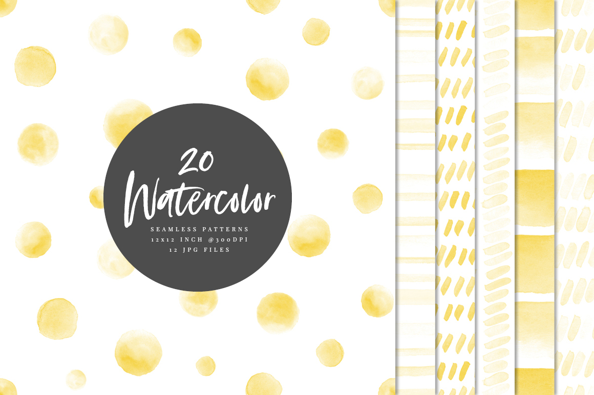 20 Seamless Watercolor Patterns Yellow example image 1