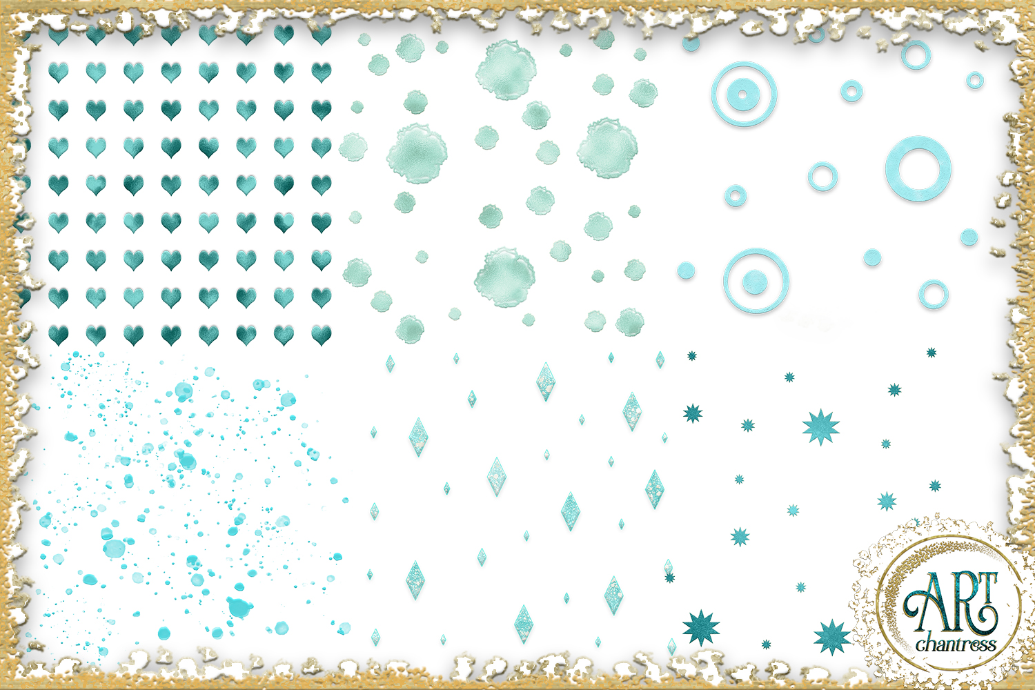 Teal Aqua Foil Glitter Seamless Digital Papers,Borders Set example image 4